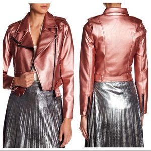 R+J Metallic Rose Gold Moto Faux Leather Jacket
